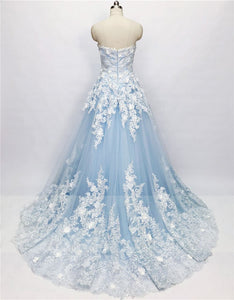 2019 Prom Dresses | Blue Tulle 3D Lace Applique Strapless Beaded Prom Dress, Evening Dress