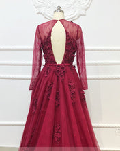 Load image into Gallery viewer, 2019 Prom Dresses | Burgundy Tulle Lace Applique Long Senior Prom Dress, Evening Gown With Sleeve