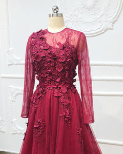 2019 Prom Dresses | Burgundy Tulle Lace Applique Long Senior Prom Dress, Evening Gown With Sleeve