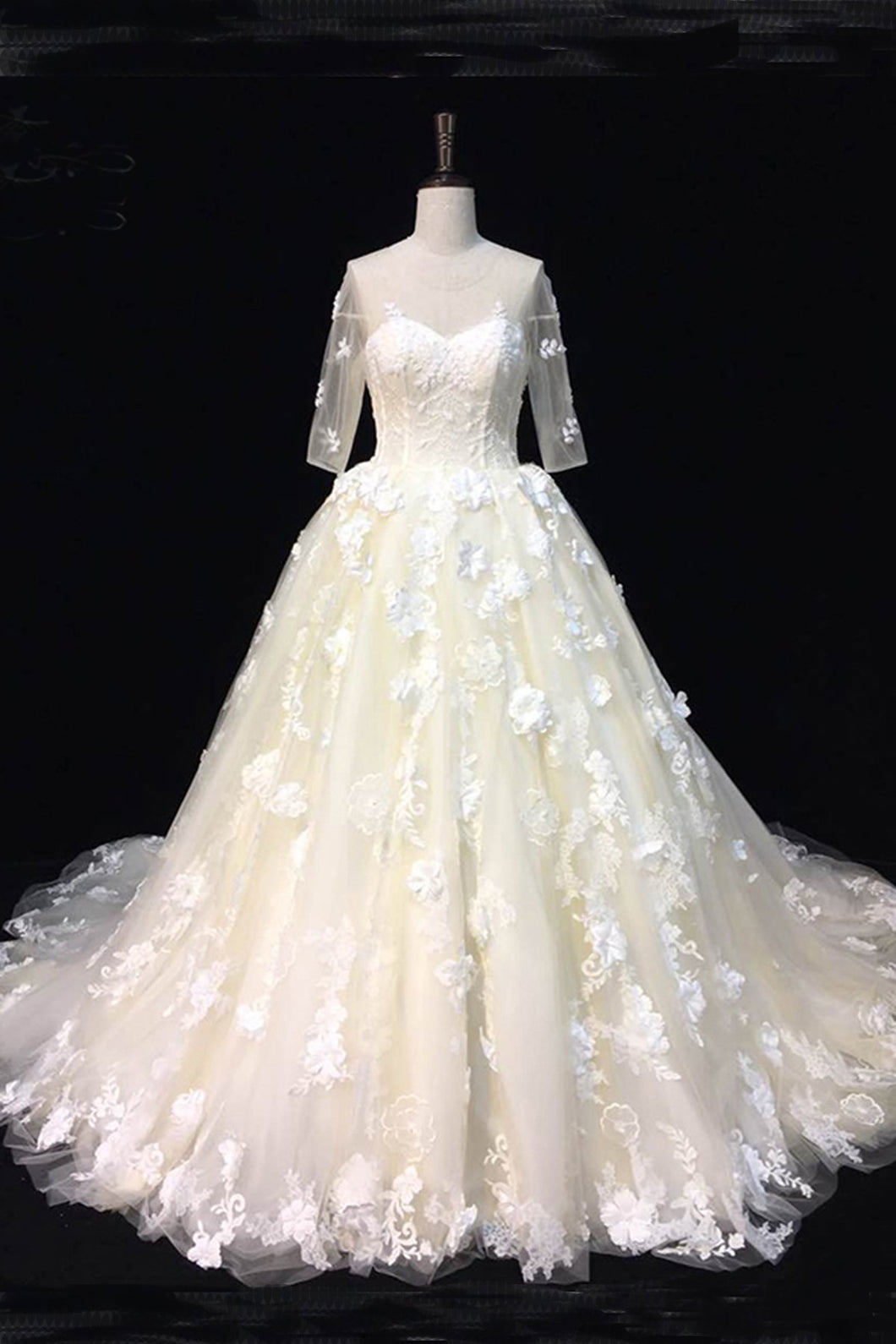 2019 Prom Dresses | Beautiful ivory lace sweep train mid sleeves wedding dresses