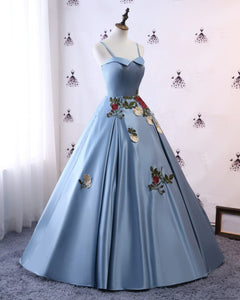 2019 Prom Dresses | Blue Satin 2019 Modest Spaghetti Straps Lace Applique Pageant Prom Dress
