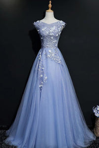 2019 Prom Dresses | Blue tulle V neck embroidery long A-line cap sleeves halter spring prom dresses