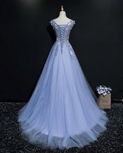 Load image into Gallery viewer, 2019 Prom Dresses | Blue tulle V neck embroidery long A-line cap sleeves halter spring prom dresses
