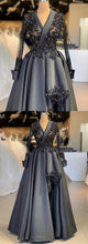 Load image into Gallery viewer, Sweet 16 Dresses | Dark Gray Satin Arabic Style Women Evening Dress, Prom Dress With Sleeve