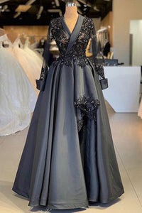 Sweet 16 Dresses | Dark Gray Satin Arabic Style Women Evening Dress, Prom Dress With Sleeve