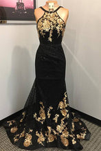 Load image into Gallery viewer, 2019 Prom Dresses | Black Lace Open Back Long Mermaid Gold Applique Evening Dress, Prom Dress