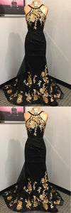 2019 Prom Dresses | Black Lace Open Back Long Mermaid Gold Applique Evening Dress, Prom Dress