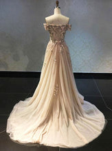 Load image into Gallery viewer, 2019 Prom Dresses | Champagne off shoulder strapless long lace appliqué senior prom dress, evening dress