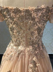 2019 Prom Dresses | Champagne off shoulder strapless long lace appliqué senior prom dress, evening dress