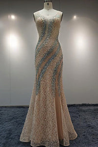 2019 Prom Dresses | Champagne Lace Long Mermaid Pearl Halter Slit Evening Dress, Prom Dress