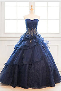 2019 Prom Dresses | Custom Made Navy Blue Tulle Layered Long Satin Senior Prom Dress With Applique