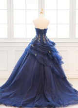 Load image into Gallery viewer, 2019 Prom Dresses | Custom Made Navy Blue Tulle Layered Long Satin Senior Prom Dress With Applique