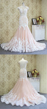 Load image into Gallery viewer, 2019 Prom Dresses | Blush Pink Tulle White Flower Lace Mermaid Long Formal Prom Dress, Evening Dress