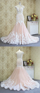 2019 Prom Dresses | Blush Pink Tulle White Flower Lace Mermaid Long Formal Prom Dress, Evening Dress