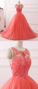 2019 Prom Dresses | Coral Tulle Layered long Quinceanera Dress,  Beaded Formal Prom Dress