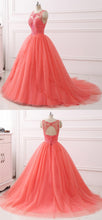 Load image into Gallery viewer, 2019 Prom Dresses | Coral Tulle Layered long Quinceanera Dress,  Beaded Formal Prom Dress