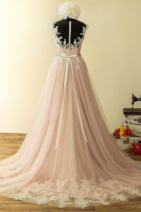 2019 Prom Dresses | Blush pink long round neck white lace evening dress, long beaded prom dress