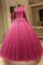 Load image into Gallery viewer, Sweet 16 Dresses | Organza lace long sleeves ball gown dresses,long homecoming dresses