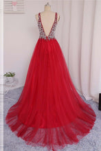 Load image into Gallery viewer, Sweet 16 Dresses | Red tulle V-neck beading rhinestone long dresses,luxury prom dress