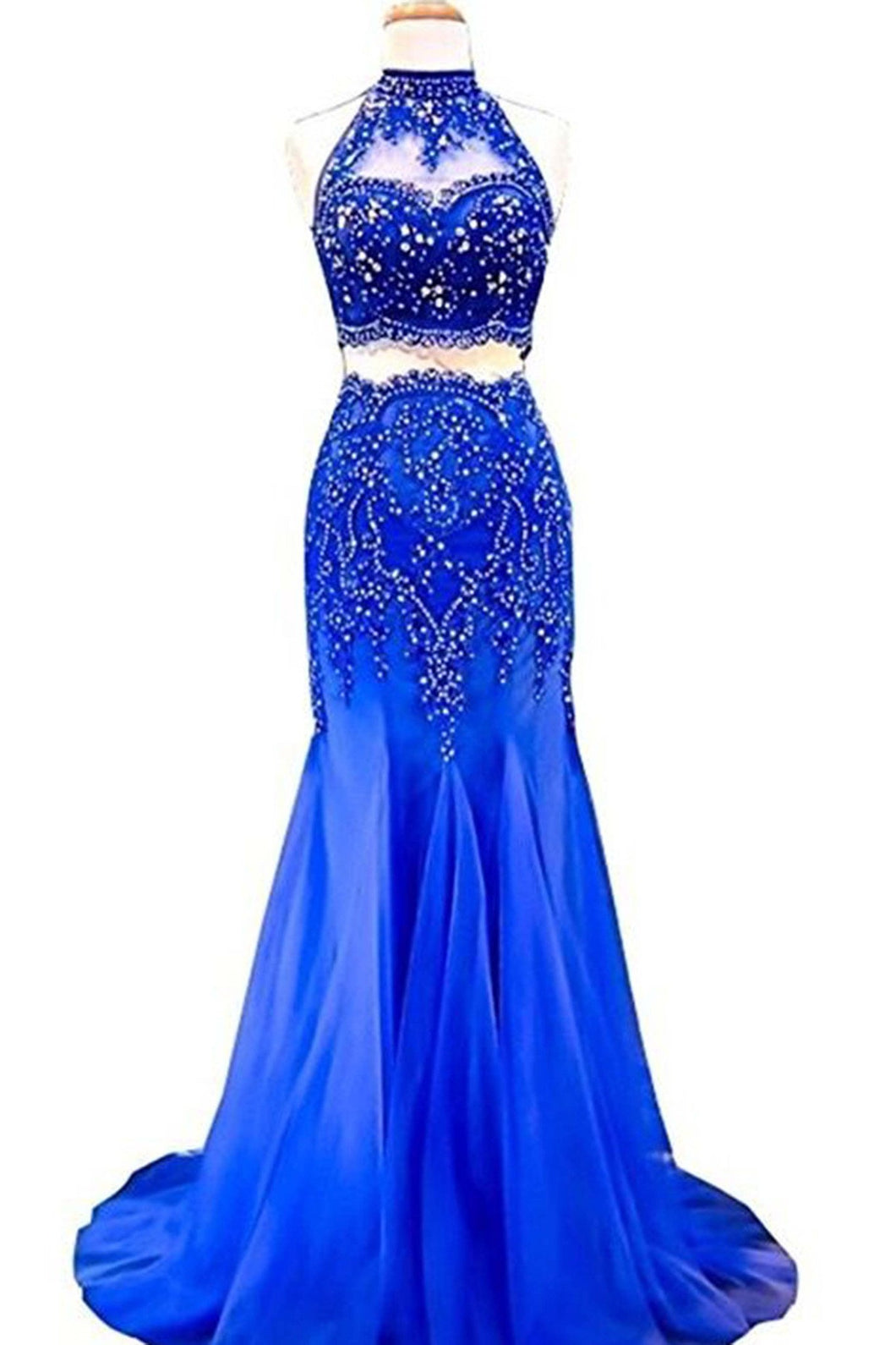 2018 evening gowns - Navy blue chiffon round neck sequins mermaid long dresses,evening dresses