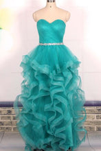 Load image into Gallery viewer, Sweet 16 Dresses | Turquoise organza sequins sweetheart long dresses,evening dresses