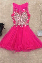 Load image into Gallery viewer, 2018 evening gowns - Hot pink organza round neck rhinestone A-line short dress,cute dress