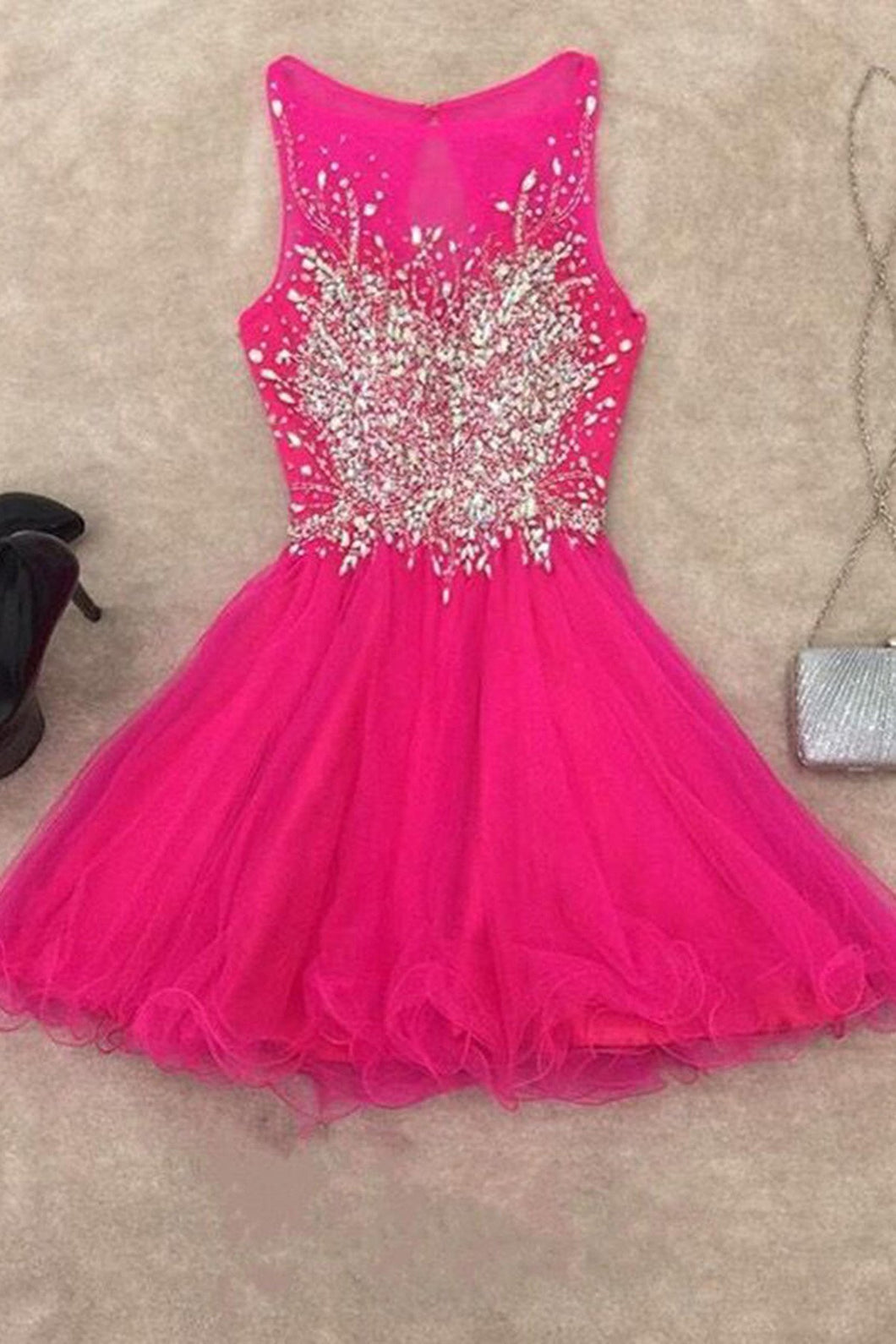 2018 evening gowns - Hot pink organza round neck rhinestone A-line short dress,cute dress
