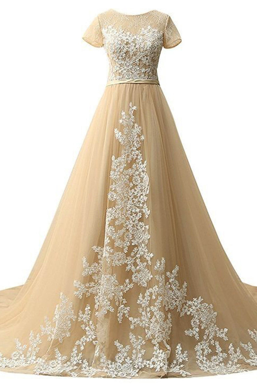 2019 Prom Dresses | Champagne tulle lace round-neck long evening dresses,formal dress for prom
