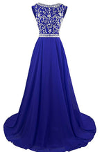 Load image into Gallery viewer, 2018 evening gowns - Luxury navy blue chiffon beading rhinestone round neck long formal dresses