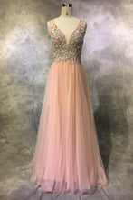 Load image into Gallery viewer, Sweet 16 Dresses | Pretty pink tulle sequins beading V-neck long dresses,evening dresses for teens