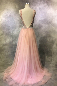 Sweet 16 Dresses | Pretty pink tulle sequins beading V-neck long dresses,evening dresses for teens
