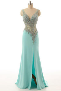 2018 evening gowns - Light blue chiffon sequins beading V-neck slit long  dresses ,evening dresses