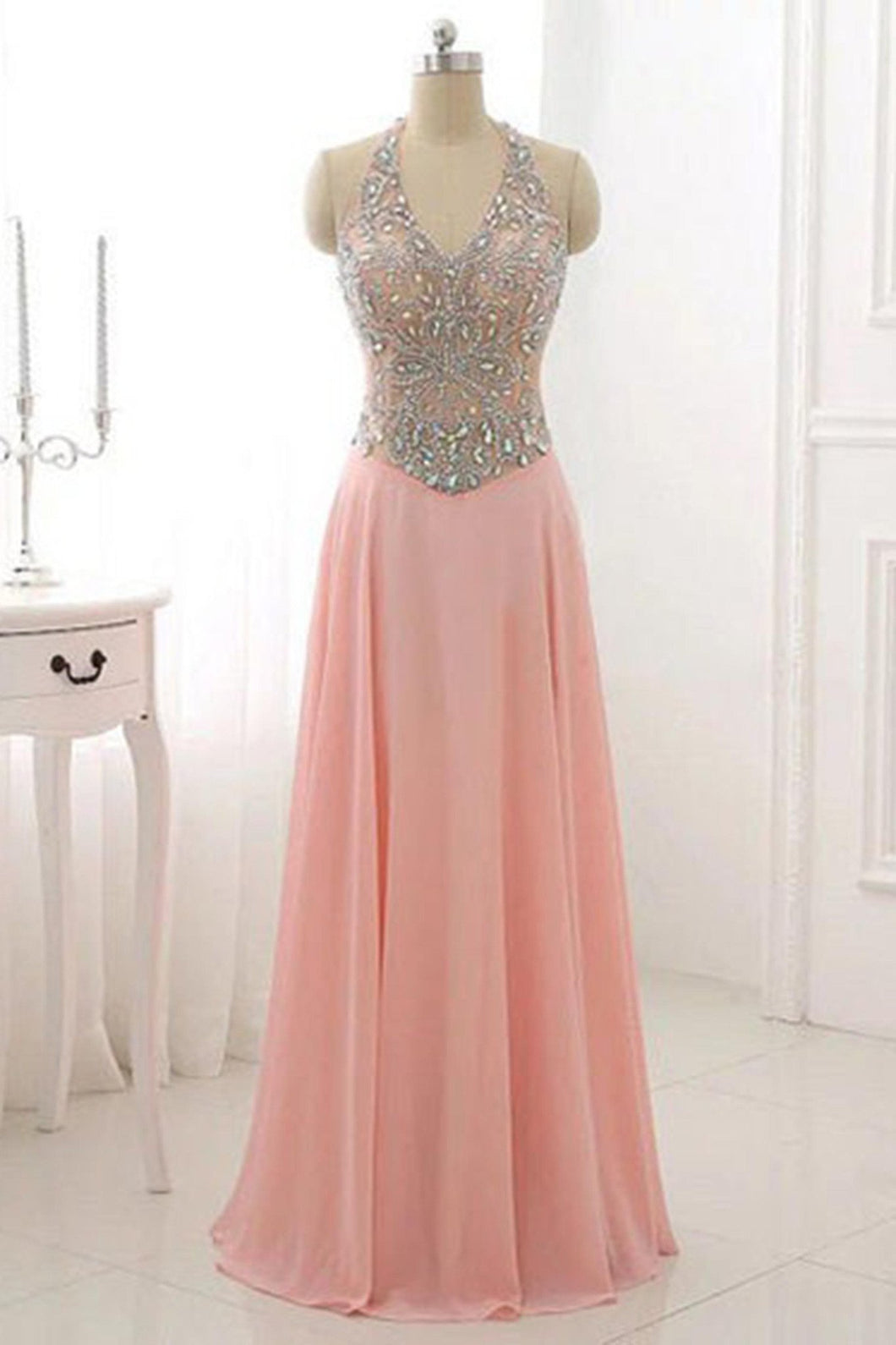 Sweet 16 Dresses | Pink chiffon sequins beading halter A-line long  dresses ,evening dresses