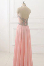 Load image into Gallery viewer, Sweet 16 Dresses | Pink chiffon sequins beading halter A-line long  dresses ,evening dresses