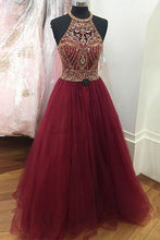 Load image into Gallery viewer, 2019 Prom Dresses | Crimson tulle beading O-neck A-line long dresses,handmade dresses
