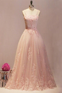 Sweet 16 Dresses | Pretty pink lace tulle A-line long dresses,princess dresses with straps