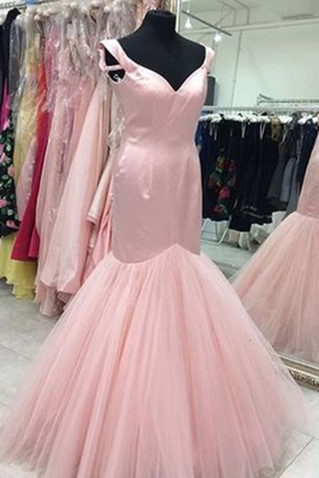 2019 Prom Dresses | Cute pink tulle satins v-neck long prom dress,mermaid dresses for teens
