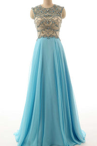 Sweet 16 Dresses | Light blue chiffon beading long evening dresses,handmade dresses