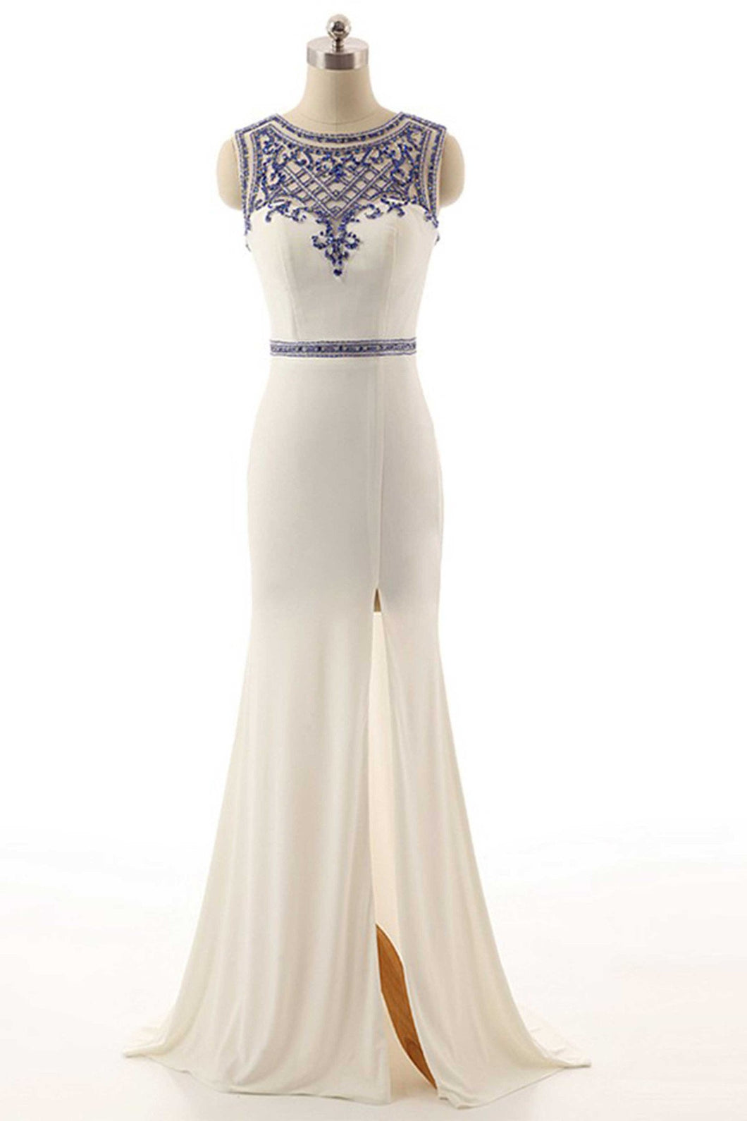 Sweet 16 Dresses | Elegant white chiffon beading long dresses,handmade evening dresses