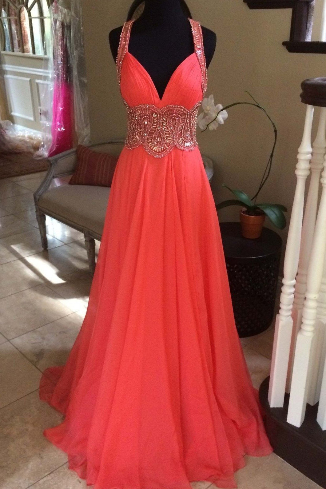 2019 Prom Dresses | Coral chiffon beading V-neck long dresses,handmade long prom dress