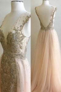 2018 evening gowns - Light orange tulle lace sequins beading V-neck long prom dress,evening dress