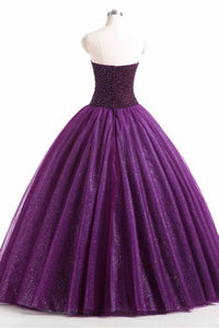 Sweet 16 Dresses | Purple organza sweetheart ball gown long prom dress, evening dresses