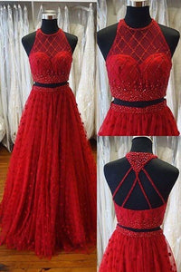 Sweet 16 Dresses | Red tulle two pieces beaded round neck A-line long dress for prom