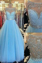 Load image into Gallery viewer, 2018 evening gowns - Light blue tulle A-line sequins beaded long prom dresses,princess graduation dress