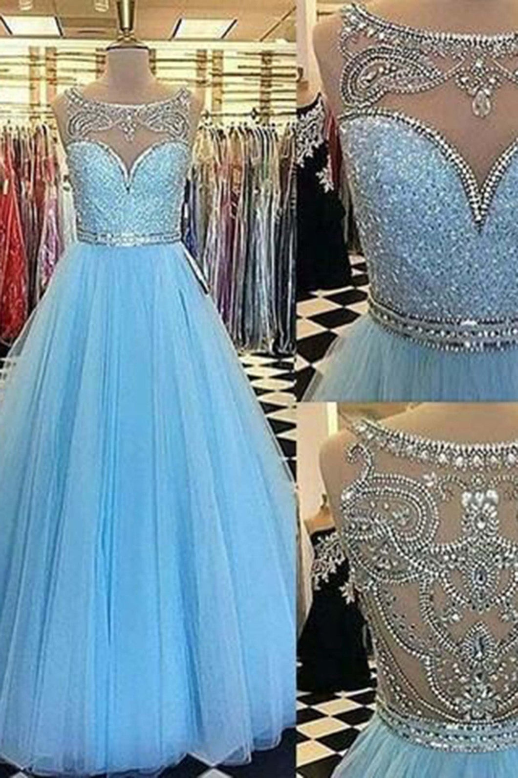 2018 evening gowns - Light blue tulle A-line sequins beaded long prom dresses,princess graduation dress