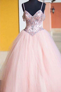 Sweet 16 Dresses | Pink tulle sequins lace up ball gown dress,princess prom dresses with straps