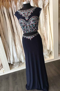 Sweet 16 Dresses | Dark chiffon beading open back two pieces long prom dress,formal dresses