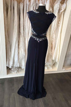 Load image into Gallery viewer, Sweet 16 Dresses | Dark chiffon beading open back two pieces long prom dress,formal dresses