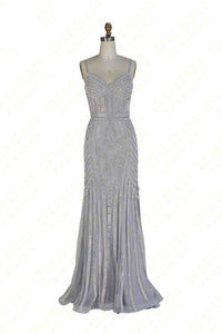 Sweet 16 Dresses | Gray tulle sequins v-neck slim-line long evening  dresses ,formal dress with straps