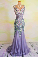 Load image into Gallery viewer, Sweet 16 Dresses | Unique V-neck open back chiffon crystal detailing trumpet/mermaid prom dresses